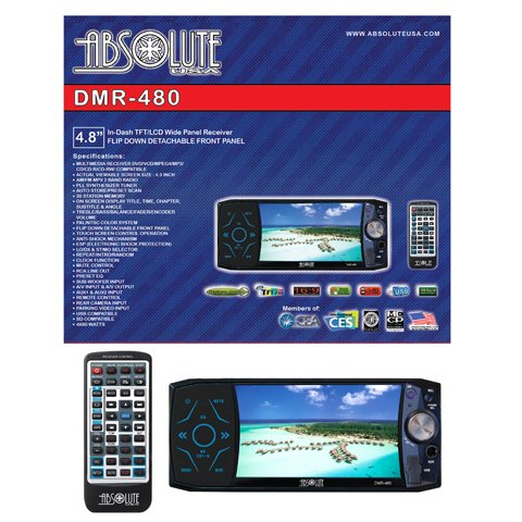 Absolute DMR-480 4.8-Inch In-Dash Multimedia Touch Screen System with Detachable Front Panel Face and Built-In USB/SD Slot