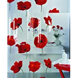 Spirella Poppy Cinnibar PEVA Plastic Transparent Shower Curtain with Poppy Flower Pattern, 180 x 200 cm, Redby Spirella