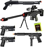 Lot of 5 Airsoft Guns Sniper Rifle Shotgun Machine Pistols & 1,000 6mm Bbs