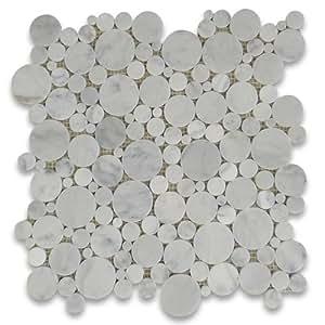 Carrara White Italian Carrera Marble Bubble Round Mosaic