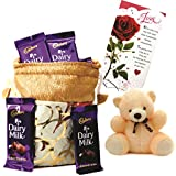 Cadbury Dairy Milk & Skylofts Chocolates Gift Pouch ( 10pcs) With Teddy & Love Card