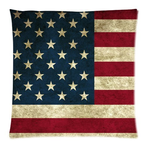 Butuku American Flag Zippered Throw Pillow Cases Cover Cushion Case 18X18 (Two Sides) front-620441