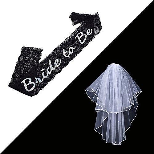 FCAROLYN White Double Ribbon Edge Bridal Wedding Veil with Comb& Black Bride To Be Lace Sash- Bachelorette Party Decorations Supplies