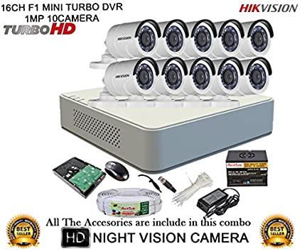 Hikvision DS-7116HGHI-F1 Mini 16CH Dvr, 10(DS-2CE16C2T-IR) Bullet Camera (With Mouse, Remote, 2TB HDD, Bnc&Dc Connectors, Power Supply,Cable )
