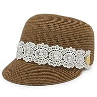 カジュアルに女の子らしさが加わった 人気ストロー系夏帽子 ソフトペーパーレース巻きキャップ