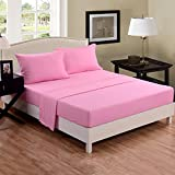 Honeymoon super soft Wrinkle Free Fade-resistant No Ironing, Twin Size 3PC bed sheet set, deep pockets, sensitive skin, Parallel stripe Embroidery, Easy Care - Pink