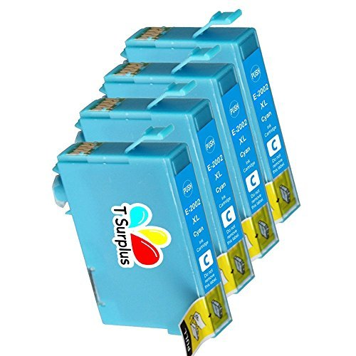 TS 4-PK Cyan T200XL (NOT T220) Remanufactured compatible ink cartridges for EPSON T200 (4 Cyan) Expression Home XP-200, Expression Home XP-300, Expression Home XP-400, workforce WF-2530, Workforce WF-2540