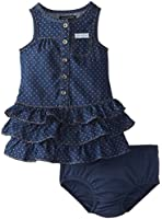 Calvin Klein Baby Girls' Blue Denim Dress with One Pocket On Chest