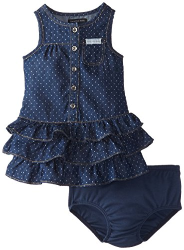 Calvin Klein Baby-Girls Infant Blue Denim Dress with One Pocket On Chest