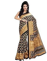 Shonaya Black & Beige Colour Printed Cotton Saree With Unstitched Blouse Piece