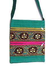 Ethnics Of Kutch Women's Raw Silk Kutch Handicraft Sling Bag With Traditional Ethnic Multi Coloured Handwork And... - B01BTJ99XO