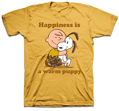 Peanuts Charlie Brown Snoopy Happiness is a Warm Puppy Mens Gold T-shirt XXL (Dog Cone Socks compare prices)