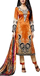 Go Traditional Women's Georgette Unstitched Dress Material (Orange)