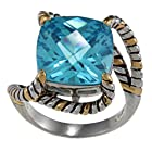 Sterling Silver Two-Tone Square Aqua CZ Twisted Ring - Size 7 (Available in sizes 6 through 9)