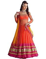 An Ethnic Affair Orange Color Embroidered Net Semi-Stitched Lehanga With Dupatta(90343_Orange)