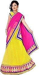 Jay Ambe Creation Women's Viscose Dress Material(dno144b_Pink & Yellow_Free Size)