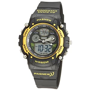 Cool Digital-analog Waterproof Dual Time Sport Wrist Watches for Boys Girls (Yellow)