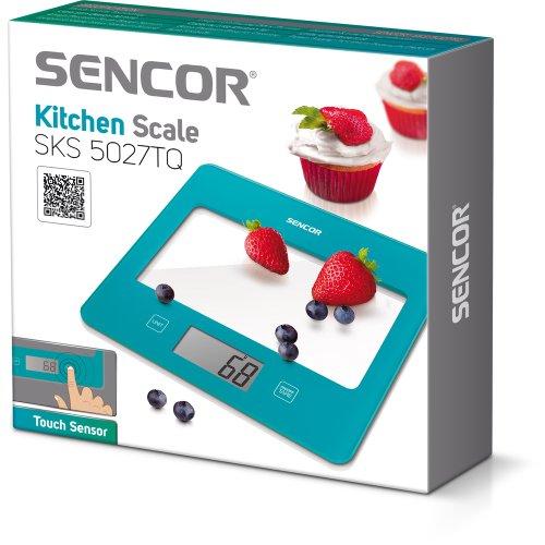 Sencor 41000758 SKS 5027TQ Balance de Cuisine avec Surface en Verre Turquoise