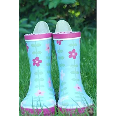 Toby Tiger Flower Wellies - Pale Blue/Pink Flower Print - UK 10 (28)