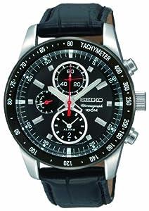 Seiko SNAE35P1 - Reloj cronógrafo de caballero de cuarzo con correa de piel negra (alarma, cronómetro) - sumergible a 100 metros
