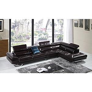 Amazon.com: VIG- Quebec Divani Casa Modern Brown Italian Leather
