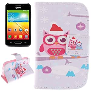 Crazy4Gadget Christmas Owl Pattern Horizontal Leather Case with Holder & Card Slots & Wallet for LG L40 / D160
