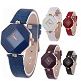 Fashion Women Ladies Leather Band Analog Quartz Prism Watch 6 Pcs Fiiliip (Mixed Color)