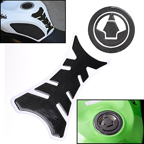 3D Carbon Fiber Pattern Tank Protector + Gas Cap Cover Pad for Kawasaki Z750 Ninja ZX-6R ZX-10R ZX-14 ZZR 1400 1000 (Monster Energy Tank Pad compare prices)