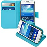 kwmobile® Elegant synthetic leather case for the Samsung Galaxy Ace 3 S7270 / S7275 with magnetic fastener and stand function in Light blue