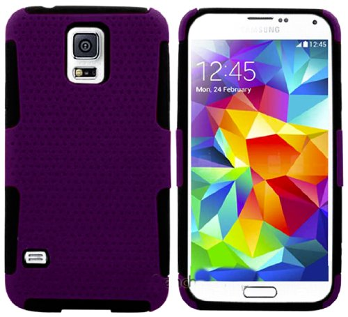 Mylife (Tm) Dark Violet Purple And Night Black - Perforated Mesh Series (2 Layer Neo Hybrid) Slim Armor Case For The New Galaxy S5 (5G) Smartphone By Samsung (External Rubberized Hard Shell Mesh Piece + Internal Soft Silicone Flexible Gel)