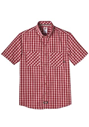 Dickies WS516CRP Short Sleeve Plaid Button Down Shirt (Crown/Spruce;X-Large)