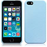 LIGHT BLUE FAUX LEATHER LOOK FINISH HARD BACK CASE FOR IPHONE 5 / 5S + FREE SCREEN PROTECTOR