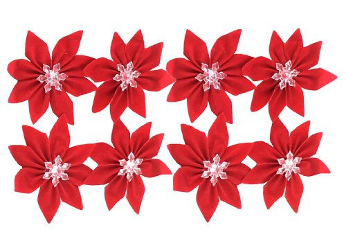 Red Velvet Poinsettia Bow With Crystal Snowflake 8-Pack