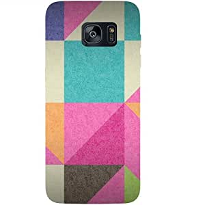 Casotec Pink Cyan Design 3D Hard Back Case Cover for Samsung Galaxy S7 Edge
