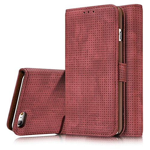 iPhone 6 Plus Case, iPhone 6S Plus Wallet Cover, TYoung Classic Artificial Leather [Breathable] Folio Magnetic Wallet Pouch with ID/Credit Card Slots Holder Screen Protector - Wine Red (Best Chest Freezer compare prices)