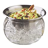 Jumbl Stainless Steel Dip Bowl w/Acrylic Vented Ice Chamber Base - Lid Included