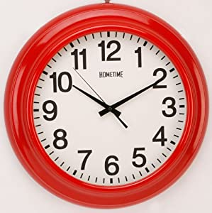Hometime Wall Clocks Large 46cm Retro Shiny Red Wall Clock Kitchen Home