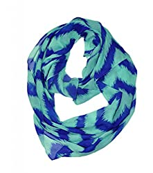 WishCart? Women's Infinity Scarf Loop Ring Light Weight Zig Zag Chevron Sheer Print,Size Bigger Then Others,Multi Color With 30 Different Colors-Sky Blue Stripe