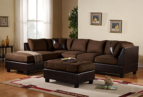 3-Piece Modern Reversible Microfiber / Faux Leather Sectional Sofa Set w/ Ottoman (Chocolate)