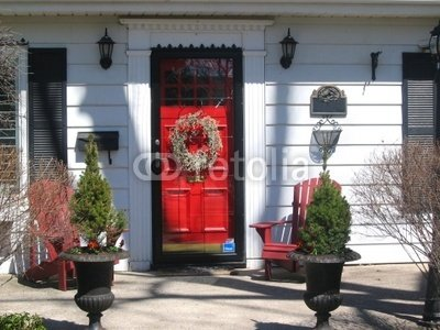 BLACK SHUTTERS RED DOOR