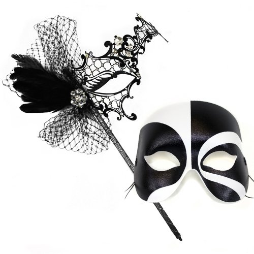 Colette Deluxe Stick-Black White Masquerade Masks for a Couple
