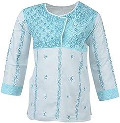 ALMAS Lucknow Chikan Women's Cotton Regular Fit Kurti (Sea Green)