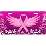 Breast Cancer Awareness Wings License Plate Novelty Tag from Redeye Laserworks