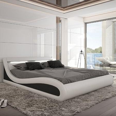 Innocent tapizada (piel sintética con LED de iluminación Paladium, blanco/negro, 180 x 200 cm
