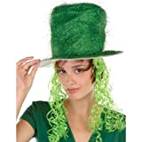 Beistle 30704-G Tinsel Top Party Hat with Curly Wig, Green