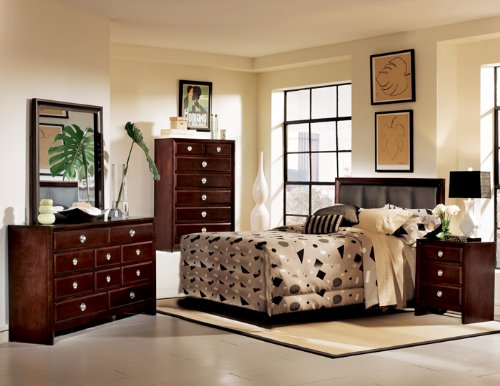 Rich Merlot Queen Size Bedroom Furniture Set