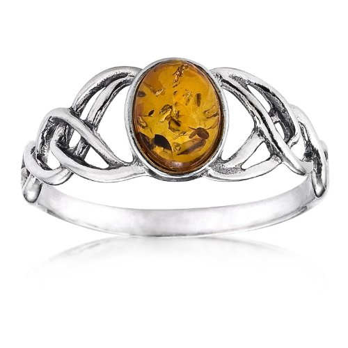 Sterling Silver Amber Oval Shaped Celtic Ring