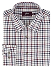 2in Longer Pure Cotton Checked Twill Poplin Shirt