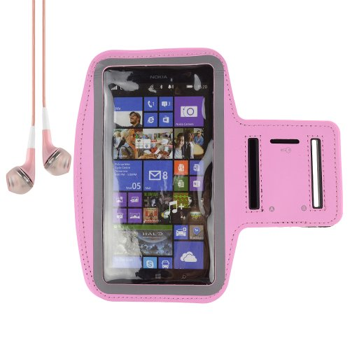 Sumaclife Runing Sport Armband Case For Nokia Lumia 1520 1320 / Samsung Galaxy Mega 6.3 / Htc One Max T6 + Vangoddy Headset With Mic (Pink)