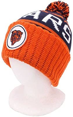 Chicago Bears Vintage Cuffed Pom Knit Cap / Beanie